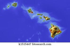 Hawaii, shaded relief map