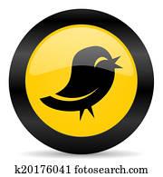 twitter black yellow web icon