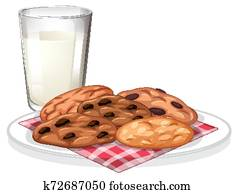 Chocolatechip cookies and glass of milk
