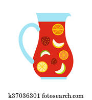 Jar and glass of fresh sangria icon, flat style