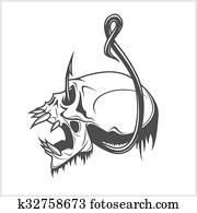 Skull on a fishing hook