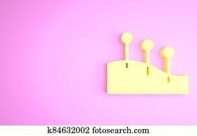 Yellow Acupuncture therapy icon isolated on pink background. Chinese medicine. Holistic pain management treatments. Minimalism concept. 3d illustration 3D render