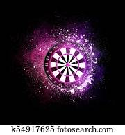 Darts board flying in violet particles.