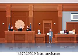 law process with judge secretary suspect and lawyer or attorney giving a speech court session modern courtroom interior full length horizontal