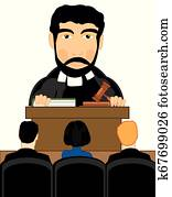 Vector illustration men to judges in courtroom