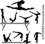 weiblicher turner, silhouette, schwebebalken, ger?teturnen, übungen