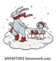 Cartoon rabbit pulling sledge with baby rabbit. Cute hand drawn illustration of family and winter activity with sledging, snowfall and snowdrift.