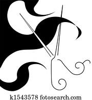 salon, stil, haarschnitt, schere, &, locken, symbol