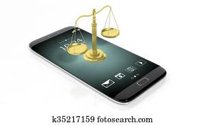 Scales of justice on smartphone