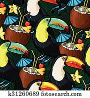 Toucan and cocktail