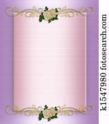 Wedding invitation Pink Satin and roses