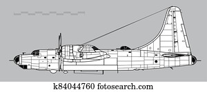 Consolidated B-32 Dominator. Outline vector drawing