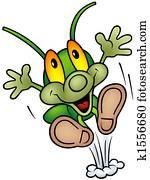 Happy Green Bug - big jump