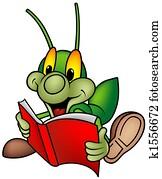 Happy Green Bug - reading book