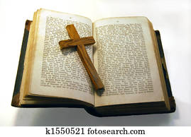 Old bible and cross