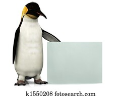Penguin with sign
