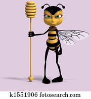 very sweet render of a honey bee in yellow and black with Clipping Path