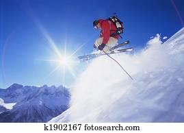 Young man skiing