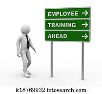 3d businessman employee training ahead roadsign