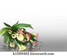 Calla Lilies and pearls Corner design