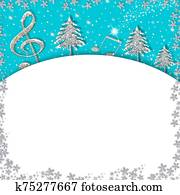 Christmas musicl border card. White background