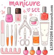 Cute cartoon manicure equipment vector set