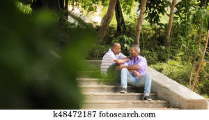 Gay Couple Two Homosexual Men Meeting In Park