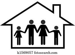 haus, von, glückliche familie, eltern, und, kindern, sicherer, hause