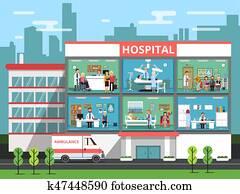 krankenhaus zimmer, mit, medizinische, personnels,, doktoren, und, patients., klinikgeb?ude, vektor, abbildungen