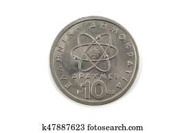 1c752a2061 Modello scientifico, di, atomo, su, vecchio, moneta greca Archivio ...