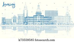 Outline Lansing Michigan City Skyline with Blue Buildings and Reflections.