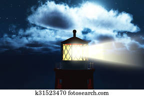 3D lighthouse at night
