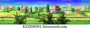 Ancient Rome panorama view.