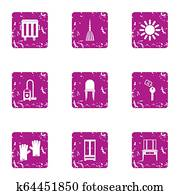 Carpet cleaning icons set, grunge style