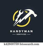 heimwerker, logo, mit, abstrakt, schraubenschlüssel, und, hammer, lichtblitz, werkzeuge, symbol