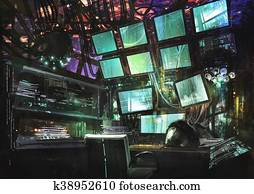 sci-fi creative workspace