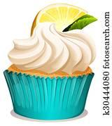 cupcake, mit, creme, und, zitrone