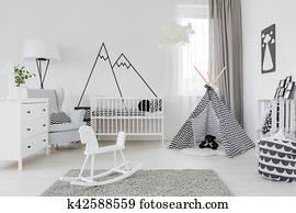 Deko Zimmer Einrichtung Baby Bett Kinderbett Baby Stock Bilder Und