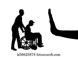 Vector silhouette of sad disabled man in wheelchair with nurse and hand gesture stop