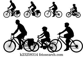 bike - vector silhouette of family