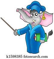 Cartoon elephant teacher