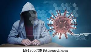 Hacker during coronavirus covid19 pandemic