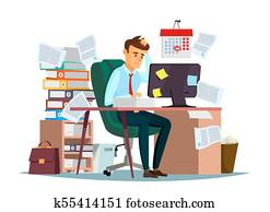 Man overwork in office vector illustration of cartoon manager sitting at computer desk working frustrated in stress