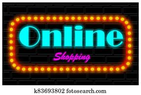 neon banner of shopping