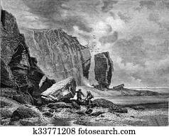 Rocks of Helgoland, vintage engraving.