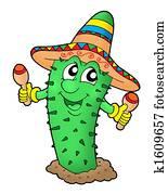 Mexican cactus with somrero