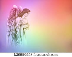 Angel on rainbow background