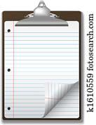 Clipboard School Ruled Notebook Paper Corner Page Curl