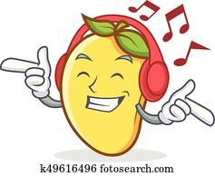 Listening music mango character cartoon mascot