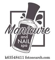 Manicure and nail spa, polish, lacquer sketch logo